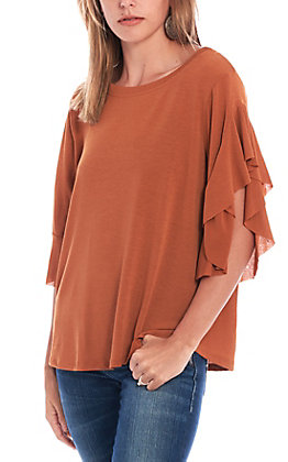 Umgee Women's Amber Ruffle Sleeve Fashion Top