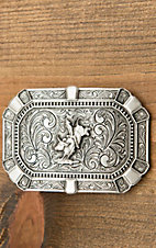 Montana Silversmiths Flourished Rectangular Classic Attitude Buckle with Bullrider