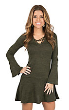 Derek Heart Women's Olive Cage Neck Ruffle Bottom Long Sleeve Dress