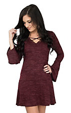 Derek Heart Women's Wine Cage Neck Ruffle Bottom Long Sleeve Dress