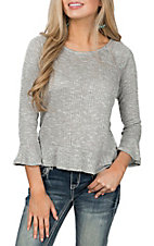 Derek Heart Women's Grey Rib Knit Long Sleeve Ruffle Fashion Shirt