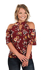 Derek Heart Women's Maroon Floral Print Cold Shoulder Fashion Top
