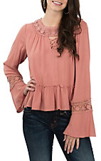Derek Heart Women's Coral Crochet Long Sleeve Fashion Shirt