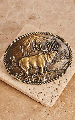 Montana Silversmiths Sculpted Wild Elk Heritage Attitude Buckle