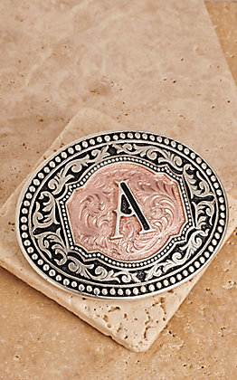 "Montana Silversmiths Silver and Rose Gold ""A"" Initial Buckle"