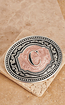 "Montana Silversmiths Silver and Rose Gold ""C"" Initial Buckle"