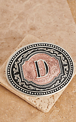 "Montana Silversmiths Silver and Rose Gold ""D"" Initial Buckle"
