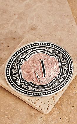 "Montana Silversmiths Silver and Rose Gold ""J"" Initial Buckle"