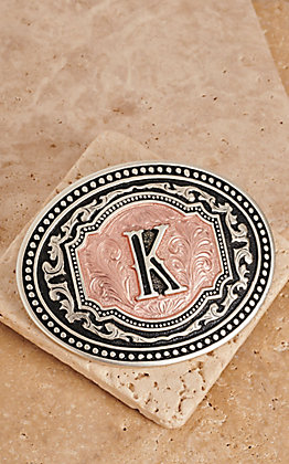 "Montana Silversmiths Silver and Rose Gold ""K"" Initial Buckle"
