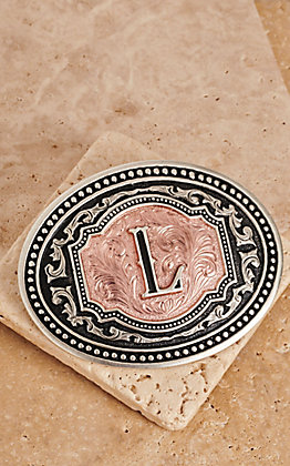 "Montana Silversmiths Silver and Rose Gold ""L"" Initial Buckle"