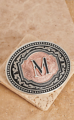 """Montana Silversmiths Silver and Rose Gold """"M"""" Initial Buckle"""