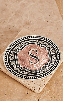 "Montana Silversmiths Silver and Rose Gold ""S"" Initial Buckle"
