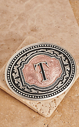"Montana Silversmiths Silver and Rose Gold ""T"" Initial Buckle"