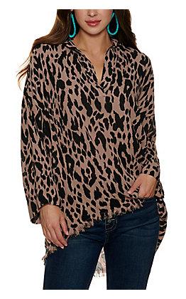 Umgee Women's Mocha with Back Leopard Print Long Sleeve Tunic Top