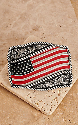 Montana Silversmiths Classic Painted Waving American Flag Attitude Buckle