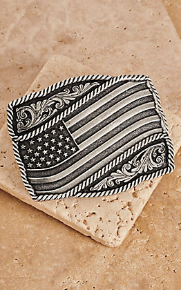 Montana Silversmiths Classic Impressions Waving American Flag Attitude Buckle