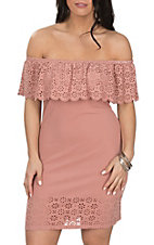 Derek Heart Women's Ash Rose Laser Cut Off the Shoulder Dress