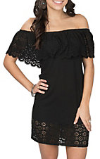 Derek Heart Women's Black Laser Cut Off the Shoulder Dress