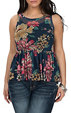 Derek Heart Women's Navy Floral Mesh Peplum Tank Fashion Shirt