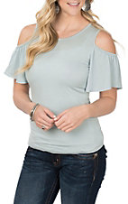 Derek Heart Women's Aqua Cold Shoulder Fashion Shirt