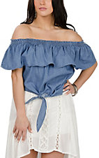 Derek Heart Women's Denim Off the Shoulder with Ruffle Neckline Peasant Crop Fashion Shirt