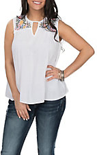 Derek Heart Women's White with Floral Embroidery Sleeveless Fashion Shirt