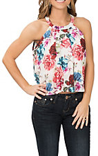 Derek Heart Women's Cream Floral High Neck Crop Top Fashion Shirt
