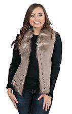 Montana Clothing Company Women's Grey with Fur Lining and Silver Studs Sleeveless Vest