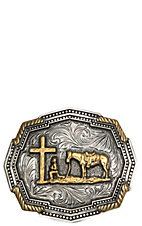 Montana Silversmiths Classic Impressions Two Tone Twisted Rope Corners Christian Cowboy Attitude Buckle