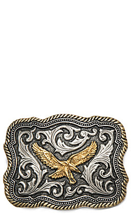 Montana Silversmiths Classic Impressions Two Tone Twisted Rope & Pinpoints with Soaring Eagle Attitude Buckle
