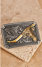 Montana Silversmiths Classic Impressions Two Tone Twisted Rope & Pinpoints w/ Leaning Steer Attitude Buckle