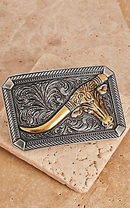 Montana Silversmiths Classic Impressions Two Tone Twisted Rope & Pinpoints with Leaning Steer Attitude Buckle