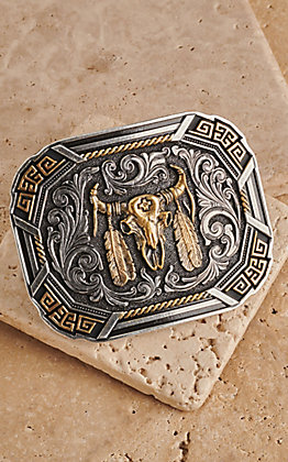 Montana Silversmiths Southwestern Flair Buffalo Skull Gold and Silver Buckle