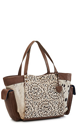 Ariat Women's Phoenix Leather Lace and Calf Hair Satchel