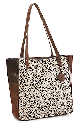 Ariat Women's Phoenix Lace Cut Leather and Hair On Calf Hide Tote