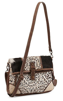 Ariat Women's Phoenix Lace Cut Leather with Hair-on Calfskin Crossbody Bag