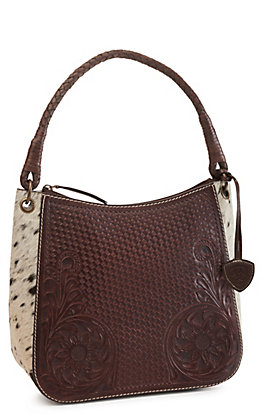 Ariat Women's Tooled Leather with Floral and Weave Pattern Hair-on Leather Shoulder Bag