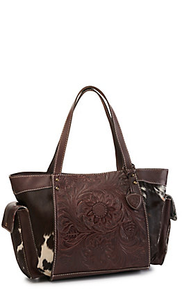 Ariat Women's Chocolate Floral Tooled with Calf Hair Satchel