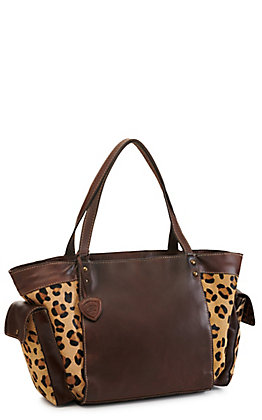 Ariat Women's Bristoll Leather Leopard Print Hair-On Hide Satchel