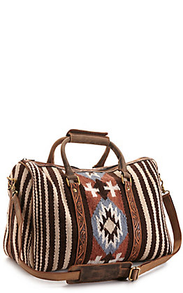 Ariat Chocolate and Rust Aztec Blanket with Tool Leather Duffle Bag