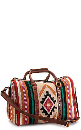 Ariat Cream and Red Aztec Blanket with Tool Leather Duffle Bag