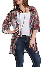 Derek Heart Women's Red Serape Striped Cardigan