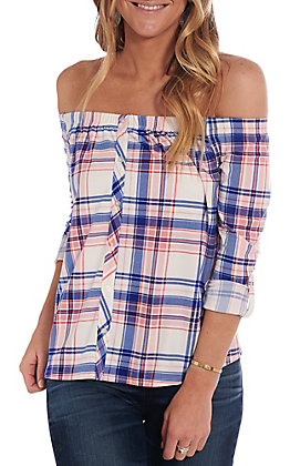 Derek Heart Women's Pink and Blue Plaid Off the Shoulder 3/4 Sleeve Fashion Top