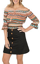 Derek Heart Women's Orange and Teal Aztec Smocked 3/4 Crop Top