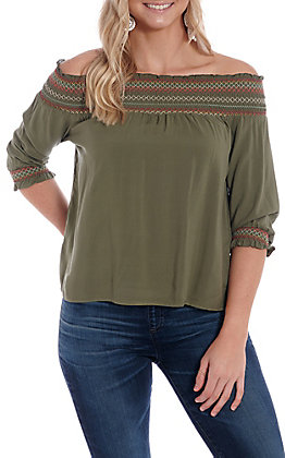 3c60e7e21d7 Derek Heart Women s Olive Off The Shoulder Smock Fashion Top