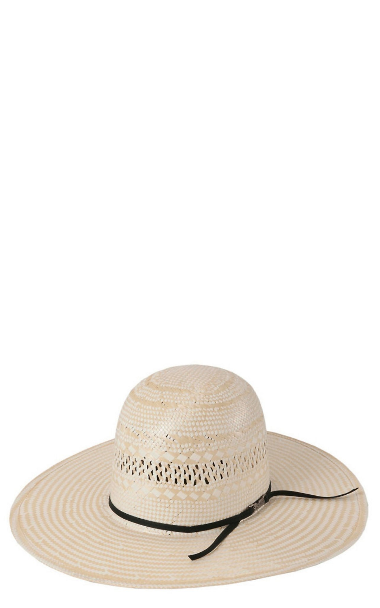 American Hat Co. Two-Tone Vented Open Crown Shantung Straw Cowboy Hat cb6c6ba2a10f