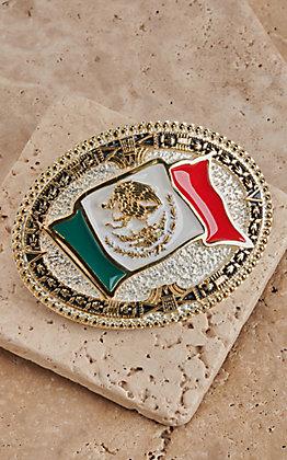 Montana Silversmiths Grand Mexican Flag Belt Buckle