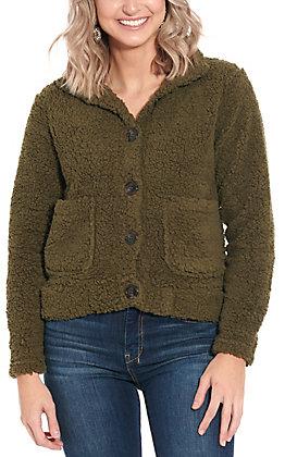 Derek Heart Women's Olive Sherpa Jacket