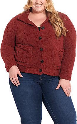 Derek Heart Women's Burgundy Sherpa Jacket - Plus Size