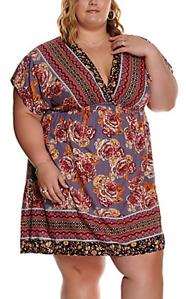Angie Women's Purple with Floral Print Short Sleeve Dress - Plus Size